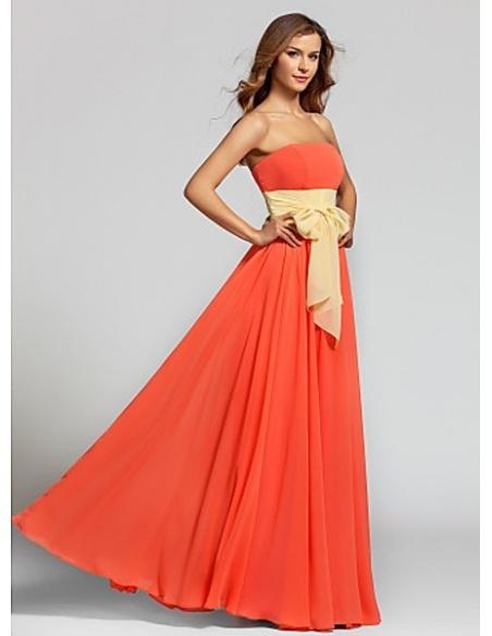 PRISCILLA - Bridesmaid Cheap A-line Floor length Chiffon Strapless Wedding party dresses
