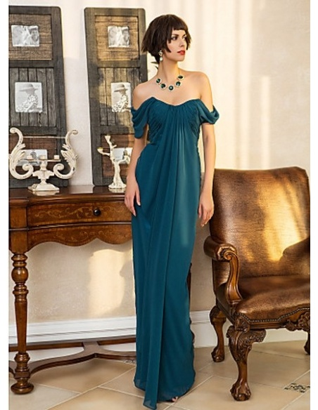 ROSS - Evening dresses Cheap Sheath/Column Floor length Georgette Sweetheart Occasion dress