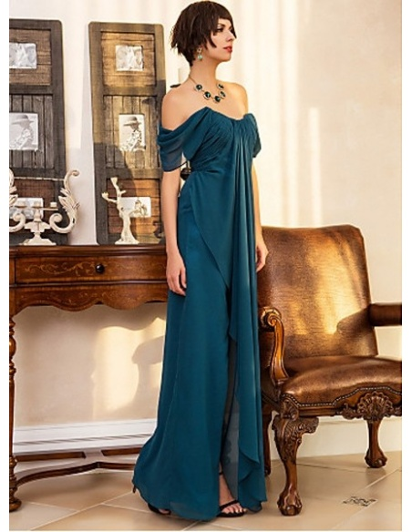 ROSS - Evening dresses Cheap Sheath/Column Floor length Georgette Sweetheart Occasion dress
