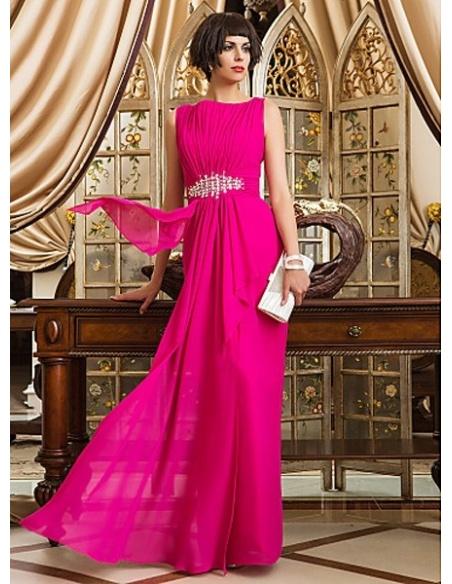 MARGARET - Evening dresses Cheap Sheath/Column Floor length Chiffon High round/Slash neck Occasion dress