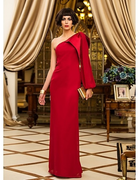 RITA - Evening dresses Cheap Sheath/Column Floor length Chiffon One Shoulder Occasion dress