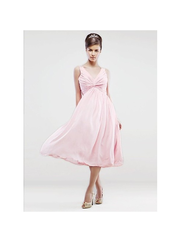 Bridesmaid dresses cheap a line tea length chiffon v neck for Cheap wedding dresses tea length