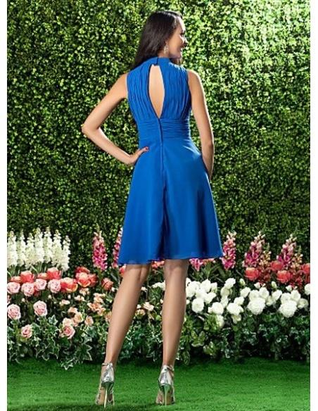 LOLY - Bridesmaid dresses Cheap A-line Knee length Chiffon High round/Slash neck Wedding party dress