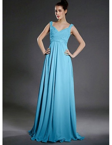 LOVELY - Bridesmaid dresses Cheap A-line Floor length Chiffon V-neck Wedding party dress