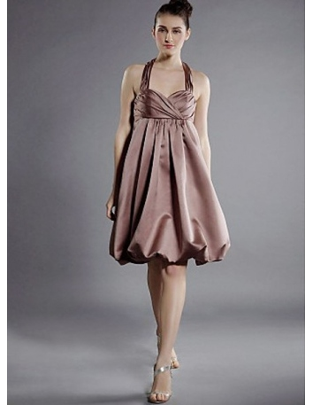 LETITIA - Bridesmaid dresses Cheap A-line Knee length Satin Halter Wedding party dress