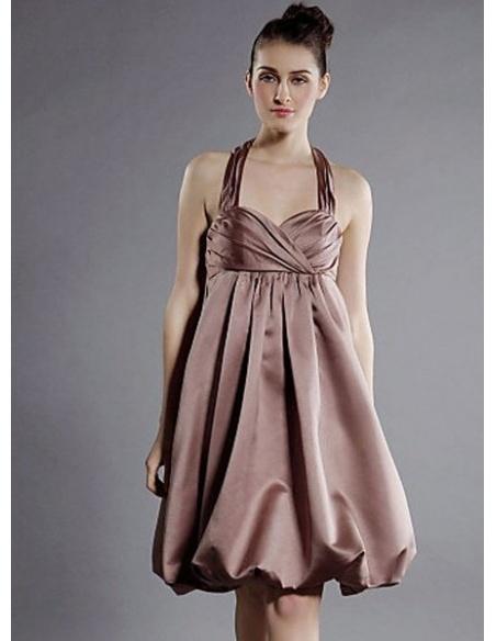 LETITIA - Bridesmaid dresses Cheap A-line Knee length Satin Halter Wedding party dress