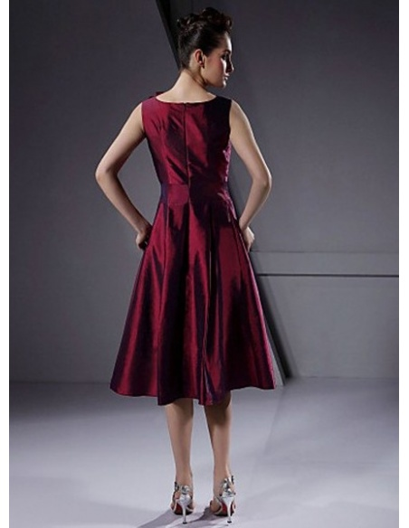 ALLISON - Bridesmaid dresses Cheap A-line Knee length Taffeta Low round/Scooped neck Wedding party dress