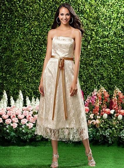 BEATA - Bridesmaid dresses Cheap A-line Tea length Lace Strapless Wedding party dress