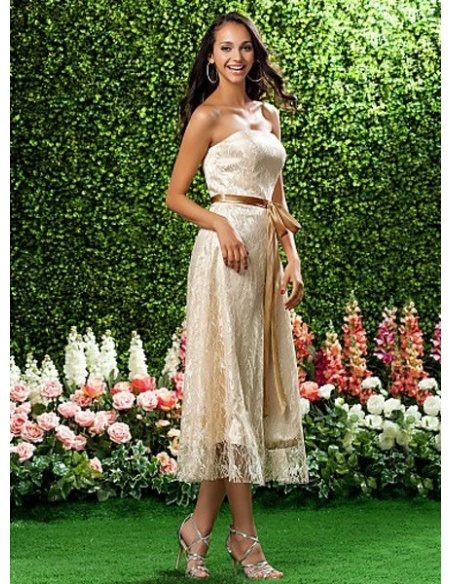 b2e048943b1f1 BEATA - Bridesmaid dresses Cheap A-line Tea length Lace Strapless Wedding  party dress