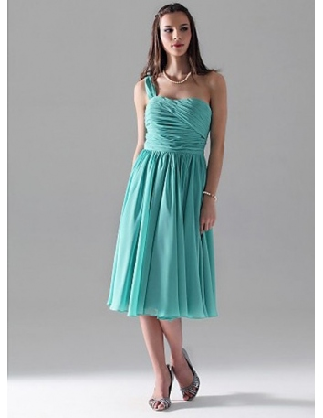 TERESA - Bridesmaid dresses Cheap A-line Knee length Chiffon One Shoulder Wedding party dress