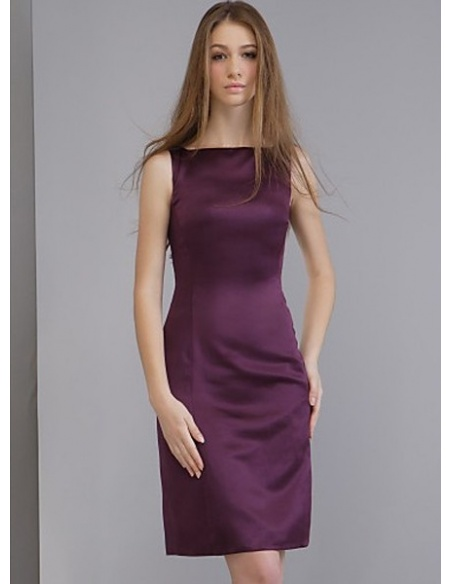 SHARON - Bridesmaid dresses Cheap Sheath/Column Knee length Satin High round/Slash neck Wedding party dress