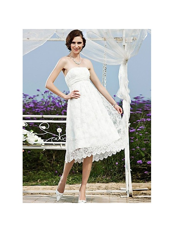 A Line Strapless Princess Tea Length Lace Wedding Dress