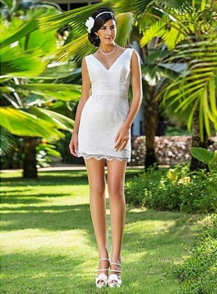 Margot Sheath V Neck Shortmini Lace Wedding Dress