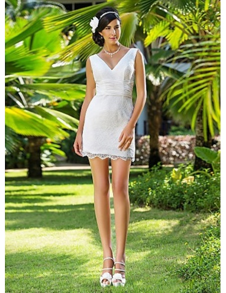 MARGOT - Sheath V-neck Short/Mini Lace Wedding dress