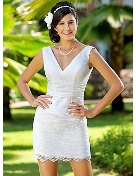 MARGOT - Sheath V-neck Short/Mini Lace Wedding dress