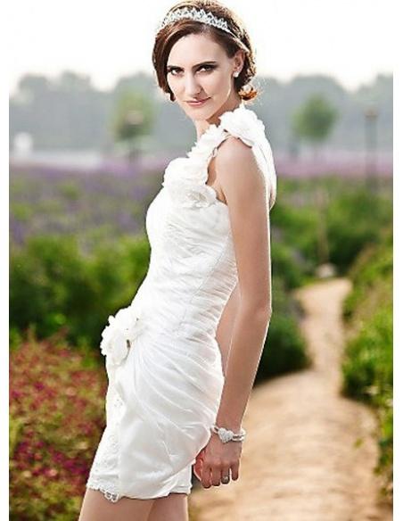 MARJORIE - Sheath Short/Mini Taffeta Lace One Shoulder Wedding dress