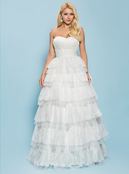 A-line Sweetheart Ball Gown Floor length Tulle Lace Wedding dress