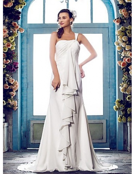 REMY - Sheath Chapel train Chiffon One Shoulder Wedding dress