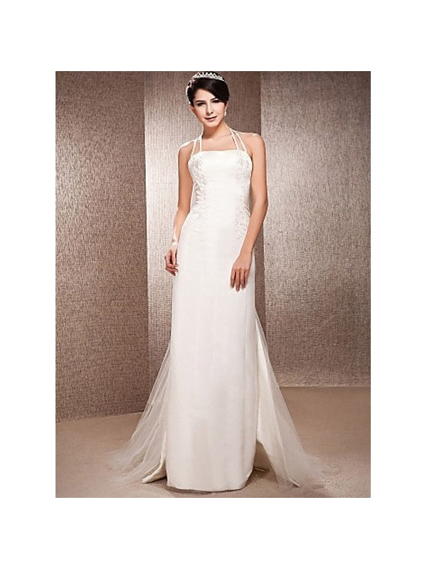 robe de mari e coupe droite en satin courte tra ne de