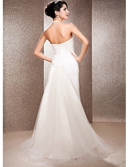 LSABELLA - Sheath Halter Court train Tulle Satin Wedding dress