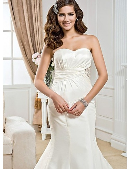 LIZ - Mermaid Sweetheart Chapel train Taffeta Wedding dress