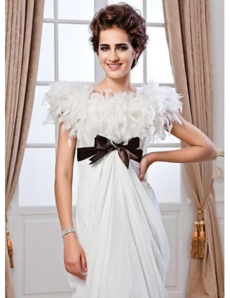 LORRAINE - Sheath Empire waist Chapel train Chiffon High round/Slash neck Wedding dress