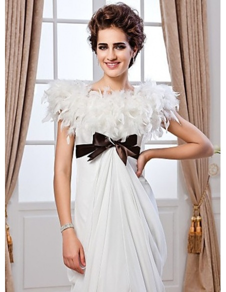 LORRAINE - Sheath Empire waist Chapel train Chiffon High round/Slash neck Wedding dress