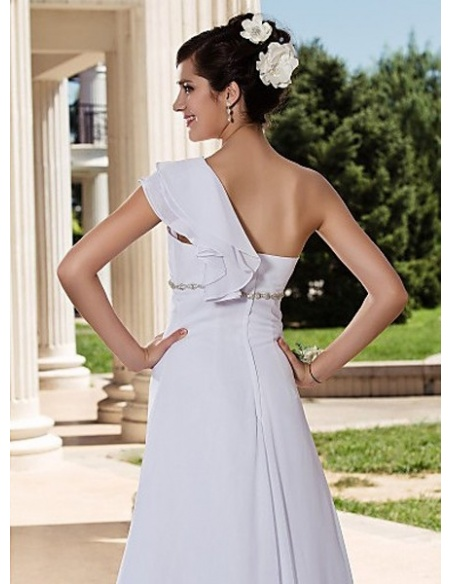 MAMIE - A-line Empire waist Chapel train Chiffon One Shoulder Wedding dress
