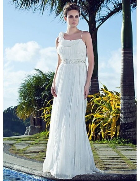 MARCIA - Sheath Spaghetti Straps Chapel train Chiffon Square neck Wedding dress