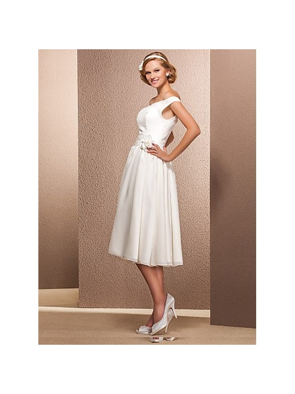 Maxine A Line Off The Shoulder Tea Length Chiffon Wedding Dress