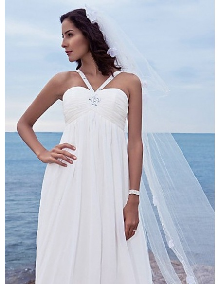 MELISSA - Sheath Spaghetti Straps Court train Chiffon Sweetheart Wedding dress