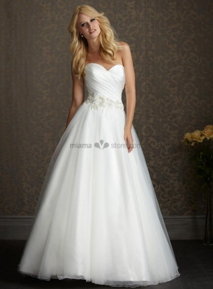 JUDY - Sweetheart Empier waist A-line Cheap Chapel train Tulle Wedding dress