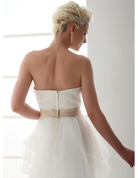 MILDRED - Sheath Strapless Chapel train Satin Organza Wedding dress