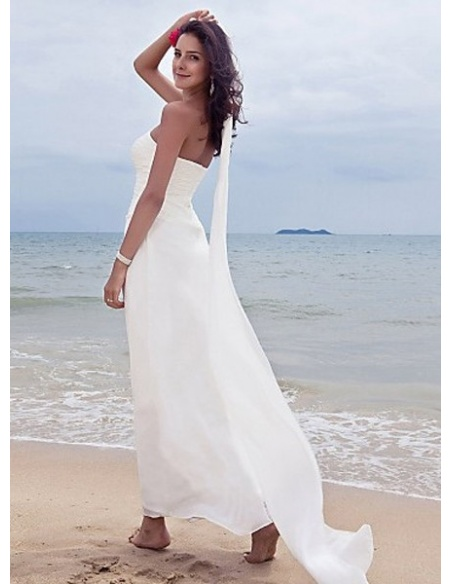 MIRABELLE - Sheath Sweetheart Ankle length Chiffon Wedding dress