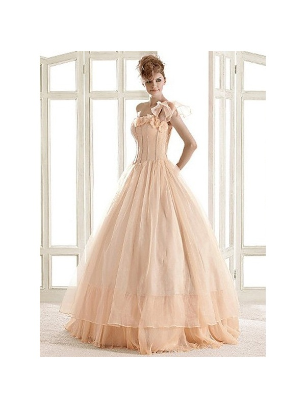 A line ball gown floor length organza one shoulder wedding for Mid length wedding dress