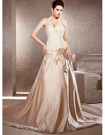 VANESSA - A-line Halter Chapel train Satin Lace Wedding dress