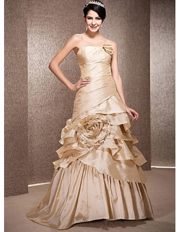 WINNIE - A-line Strapless Chapel train Taffeta Wedding dress