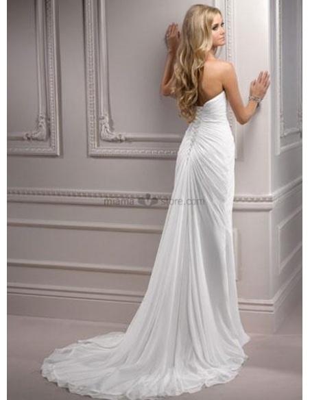CONNIE - Sheath Sweetheart Empier waist Cheap Chapel train Chiffon Wedding dress