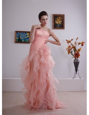 APRIL - A-line Strapless Court train Organza Wedding dress