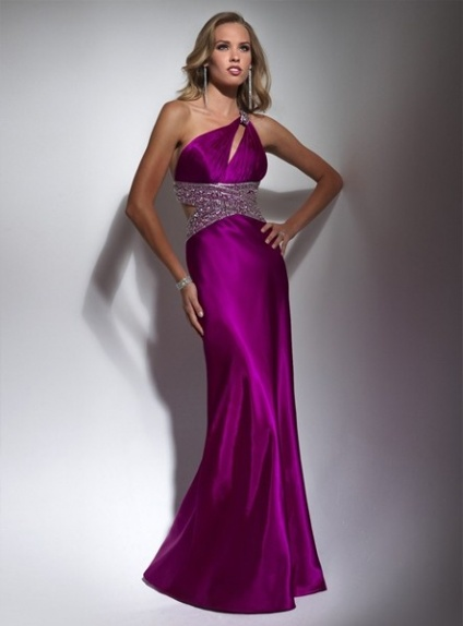 CINDY - Evening dresses Prom dresses A-line Chapel train Stretch satin One shoulder Occasion dress