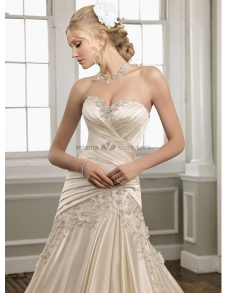 JANE - A-line Sweetheart Chapel train Satin Wedding dress