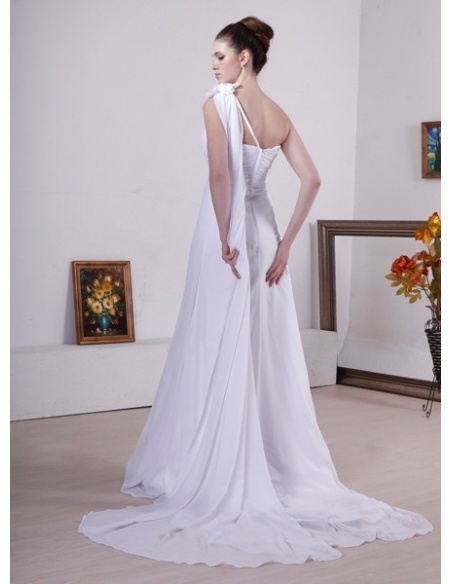 A Line Empire Waist Watteau Train Organza One Shoulder Wedding Dress