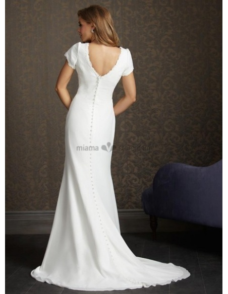 DORIS - V-neck Sheath Cheap Chapel train Chiffon Wedding dress