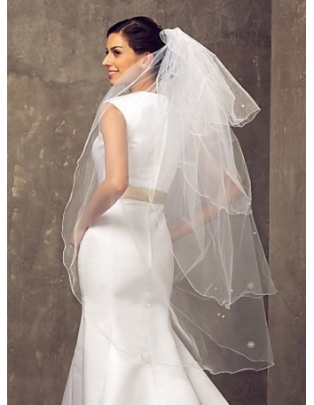 Four layers Fingertip Wedding veil