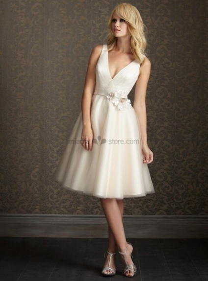 SHIRLEY - Short V-neck A-line Cheap Knee length Tulle Wedding dress