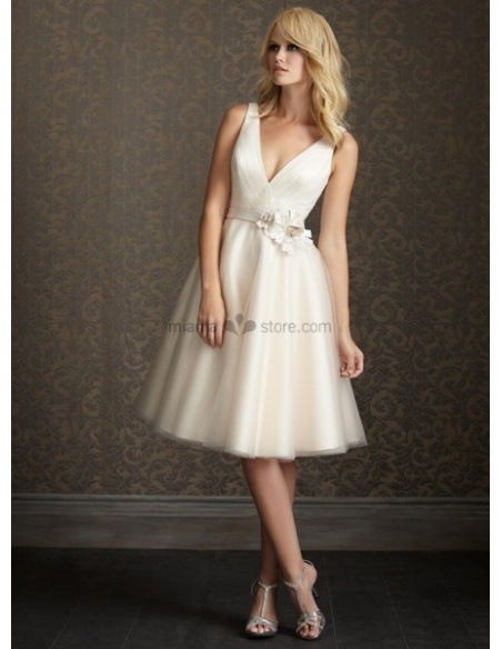 SHIRLEY - Short V-neck A-line Cheap Knee length Tulle Wedding dress