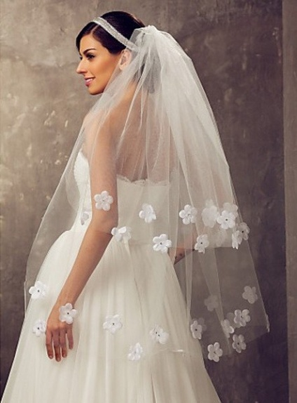 Two layers Fingertip Wedding veil