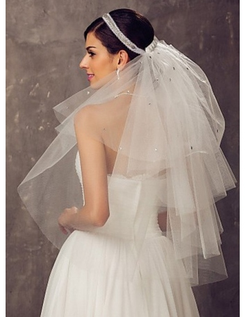 Four layers Elbow Wedding veil