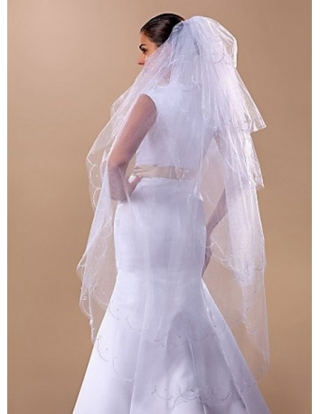 Six layers Fingertip Wedding veil