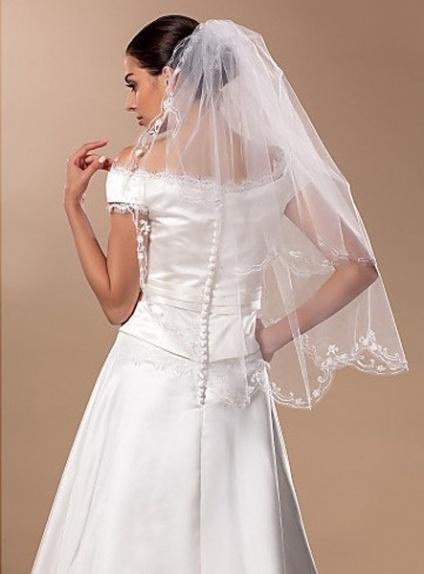 Two layers Fingertip Wedding veil
